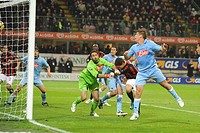 german gustavo denis scores the owngoal,milano 02 11 2008 ,serie a football championship 2008/2009 ,milan_napoli 1_0,photo paolo bona/markanews