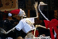 Christmas window decoration of the worlds first and only Osteological Store, Columbus Avenue, Central Park West, New York City, USA