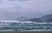 Surf at Mason Bay, Codfisch Island in the background, Steward Island, New Zealand