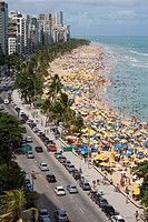 Crowded Sunday afternoon beach, Recife, Pernambuco, Brazil, South America