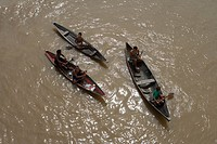 Amazonian Indians in Canoes on the Amazon River, Rio do Cajari, Para, Brazil, South America