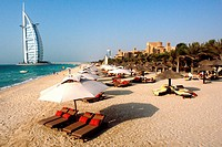 Sun Loungers at Jumeirah Beach, View at Burj al Arab Hotel, Jumeirah District, Dubai, United Arab Emirates, UAE