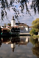 Town of Regen with reflection, Bavarian Forest, Lower Bavaria, Bavaria, Germany