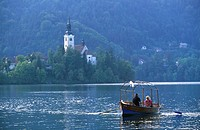 Lake Bled with Bled island and the Church of the Assumption, Slovenia