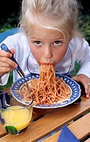 Eating spaghetti, girl