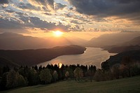 Millstaeter lake at sunset, Carinthia, Austria
