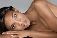 Nude African woman laying on side (thumbnail)