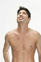 Bare chested man looking up (thumbnail)