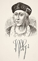 Autograph and portrait of King Henry VII of England 1457 to 1509  From The National and Domestic History of England by William Aubrey published London...