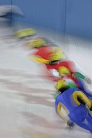 Ice skaters performing in Olympics