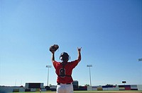 Baseball Catcher in Field Raising Arms