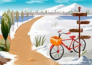 bicycle, tree, train, winter, snow, background