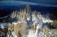 Aerial view at 3400 meters of Mount Fitzroy, Cerro Torre Range and Andes Mountains