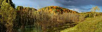 Evening sunshine on Fall colors Panorama