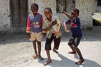 Zanzibar, Tanzania, Children smiling at camera