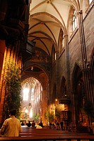 Morning service Inside the Muenster Freiburg Baden Wuerttemberg Germany