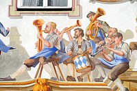 Brass band house fresco Oberammergau Bavaria Germany