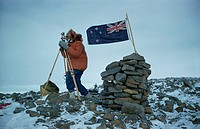 P. Otway surveying from summit of Mount Nousen, Antarctic, Polar Regions