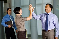 Multi_ethnic co_workers high fiving in office