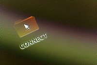 Close_up of a connect icon and a cursor on a monitor screen