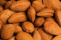 Close_up of almonds in shells