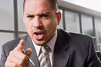 Portrait of a businessman shouting