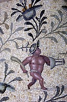 Pygmy, ancient mosaics, Roman Villa Silini, Villa Sileen, Leptis Magna Libya