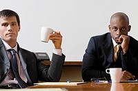 Portrait of two businessmen sitting in a board room