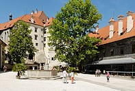 Schwarzenberg castle, historic old town of Cesky Krumlov, Bohemia, Czech Republic