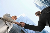 Low angle view of a businessman and a businesswoman shaking hands