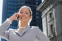 Portrait of a businesswoman talking on a mobile phone (thumbnail)