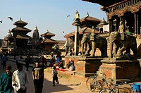 Durbar Square with statues of elephants and many temples Patan Kathmandu Nepal