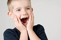 Close_up of a boy shouting