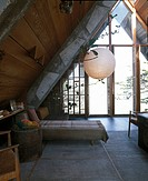 Wild Bird, Big Sur, California, 1957. Daybed in main living space. Architect: Nathaniel and Margaret Owings