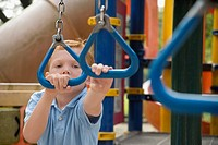 Portrait of a boy playing on monkey bars