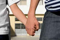 Mid section view of a boy holding hands of his sister