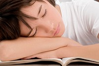 Close_up of a schoolboy sleeping