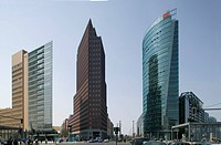 Potsdamer Platz, Berlin. Sony Center by Helmut Jahn on the right, Daimler_Chrysler office building B1 by RPBW on the left.