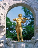 Gold statue of the musician Johann Strauss in Vienna, Austria, Europe