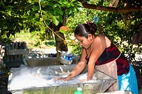 Young woman washing clothes, Papantla, Veracruz, Mexico