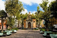 Facade of an octagonal chapel, Plaza De La Concepcion, Mexico City, Mexico (thumbnail)