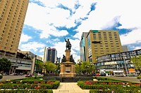 Low angle view of a monument in a city, Monumento De Cristobal Colon, Mexico City, Mexico