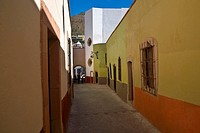 Empty alley in a city, Callejon De Veyna, Alcaiceria De Gomez, Zacatecas State, Mexico (thumbnail)