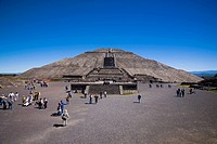 Tourists around a pyramid, Pyramid of the Sun, Teotihuacan, Mexico