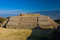 High angle view of a pyramid, Monte Alban, Oaxaca State, Mexico