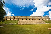 Old ruins of a palace, Palacio Del Gobernador, Uxmal, Yucatan, Mexico