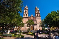 Group of people in front of a church, Soberbio Templo De San Jose, Morelia, Michoacan State, Mexico