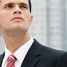 Close_up of a businessman thinking