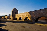Aqueduct along a road, Morelia, Michoacan State, Mexico