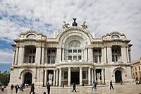 Tourists in front of a palace, Palacio De Bellas Artes, Mexico City, Mexico